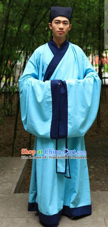Traditional Asian China Ming Dynasty Costume Chinese Ancient Hanfu Officer Scholar Long Robe Blue Priest Frock for Men