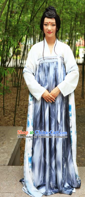 Traditional Chinese Hanfu Costumes Ancient Tang Dynasty Young Lady Blouse and Printing Slip Skirts Complete Set