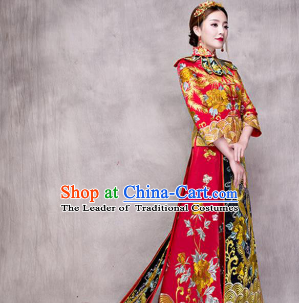 Traditional Ancient Chinese Costume Trailing Xiuhe Suits Chinese Style Wedding Embroidery Dragon and Phoenix Bride Cheongsam Clothing for Women