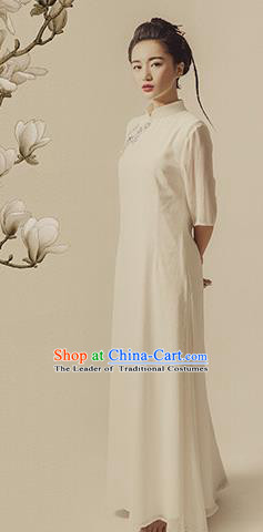 Traditional Ancient Chinese Republic of China Qipao Costume, Chinese Manchu Young Lady Embroidered Cheongsam for Women