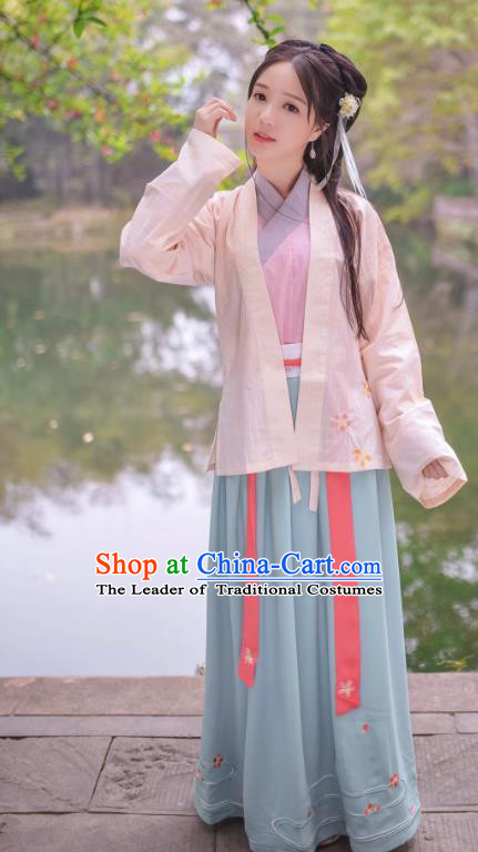 Traditional Chinese Hanfu Costumes Ancient Han Dynasty Young Lady Embroidery Pink BeiZi Blouse and Skirts Complete Set