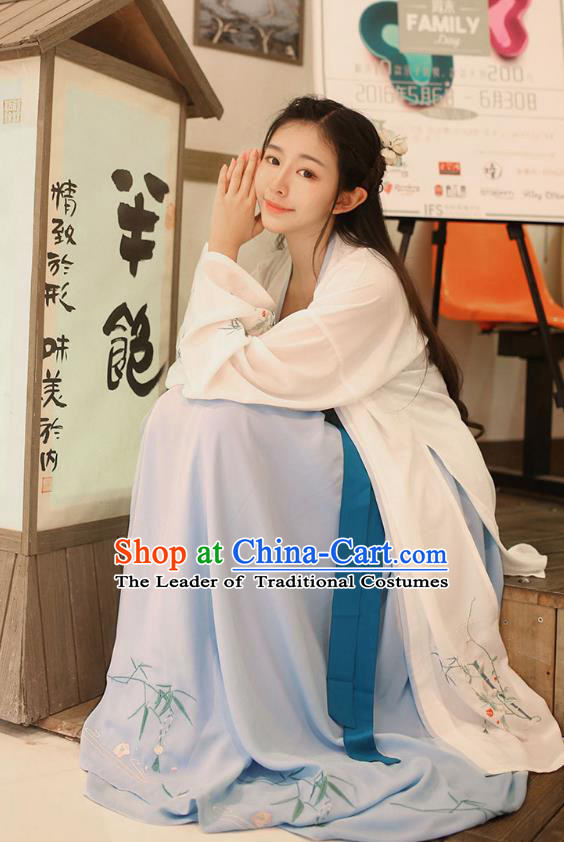 Traditional Ancient China Costume Young Lady Embroidery White BeiZi and Blue Skirt Complete Set, Chinese Hanfu Song Dynasty Embroidered Clothing