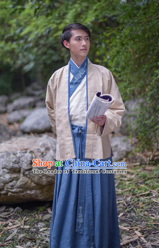 Traditional Chinese Hanfu Costumes Ancient Han Dynasty Swordsman Embroidery Clothing Beige Half-arm Shawl and Robe Complete Set