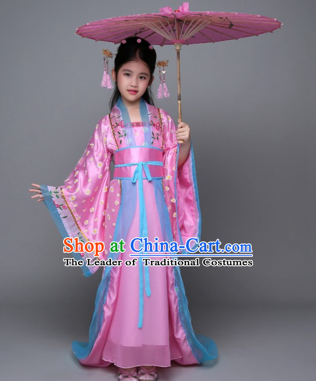 Ancient Chinese Palace Royal Princess Costume and Hair Jewelry Complete Set for Girls Children Kids
