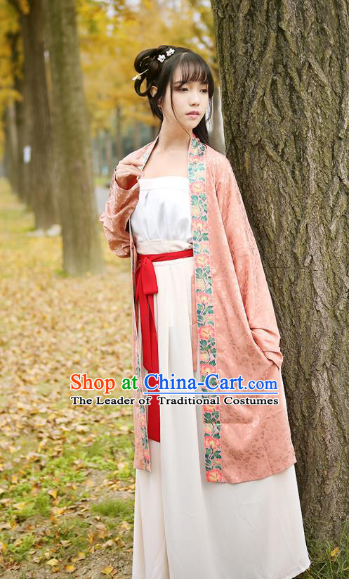Ancient Chinese Palace Princess Hanfu Costume, Traditional China Song Dynasty Young Lady Embroidery Pink BeiZi Boob Tube Top and Skirt Complete Set