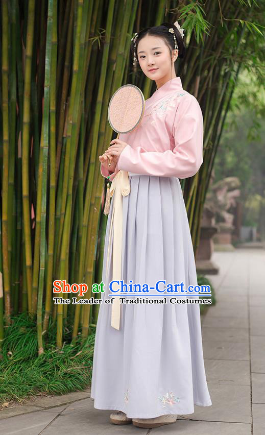 Ancient Chinese Palace Princess Hanfu Costume, Traditional China Ming Dynasty Young Lady Pink Embroidery Blouse and Blue Skirt Complete Set
