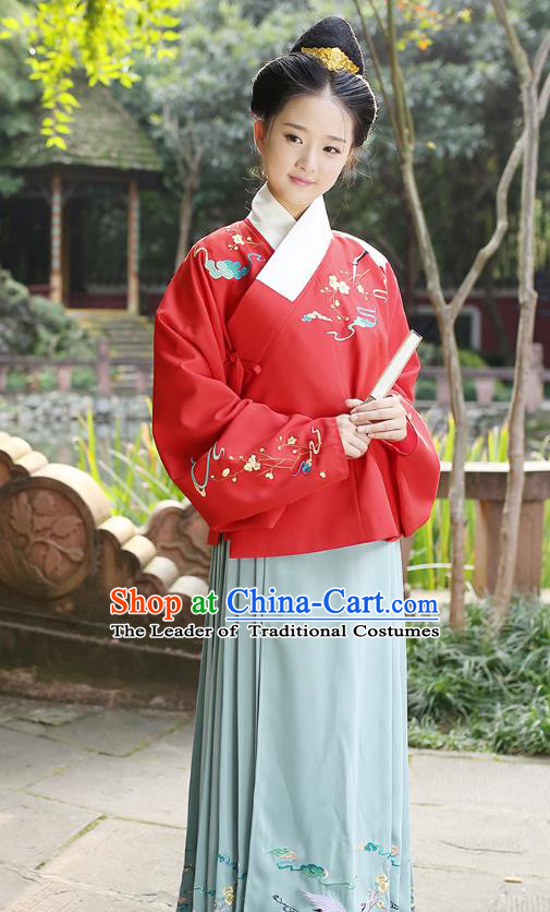 Ancient Chinese Palace Princess Hanfu Costume, Traditional China Ming Dynasty Palace Lady Red Embroidery Crane Blouse and Green Skirt Complete Set