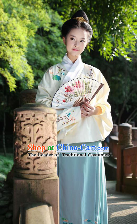Ancient Chinese Palace Princess Hanfu Costume, Traditional China Ming Dynasty Palace Lady Yellow Embroidery Crane Blouse and Green Skirt Complete Set