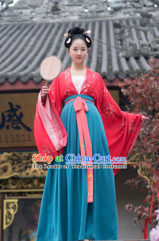 Traditional Chinese Ancient Hanfu Costumes, Asian China Tang Dynasty Palace Lady Princess Clothing Embroidery Red Blouse and Blue Skirt Complete Set