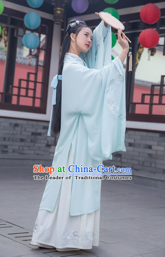 Ancient Chinese Royal Princess Hanfu Costume, Traditional China Jin Dynasty Palace Lady Embroidery Wide Sleeve Cloak for Women