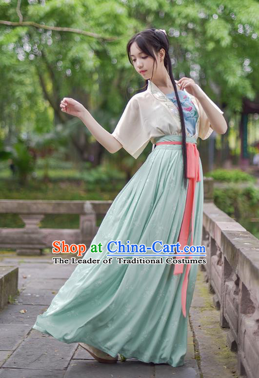 Ancient Chinese Royal Princess Hanfu Costume, Traditional China Song Dynasty Palace Lady Embroidery Yellow Blouse and Green Dress for Women