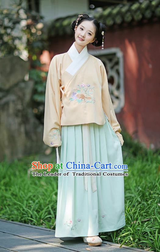 Traditional Chinese Ancient Young Lady Hanfu Costumes, Asian China Ming Dynasty Palace Princess Embroidery Yellow Blouse and Green Skirt for Women