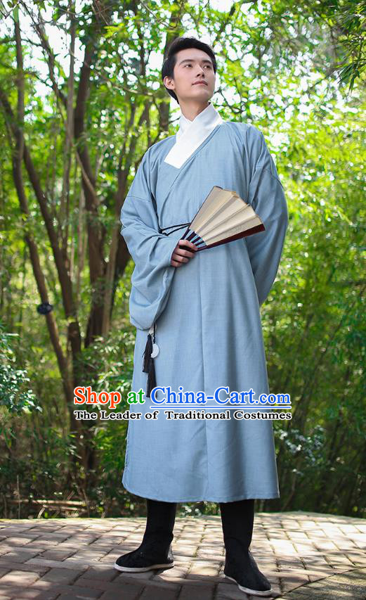 Traditional Chinese Ancient Hanfu Costume, Asian China Han Dynasty Swordsman Blue Long Robe for Men