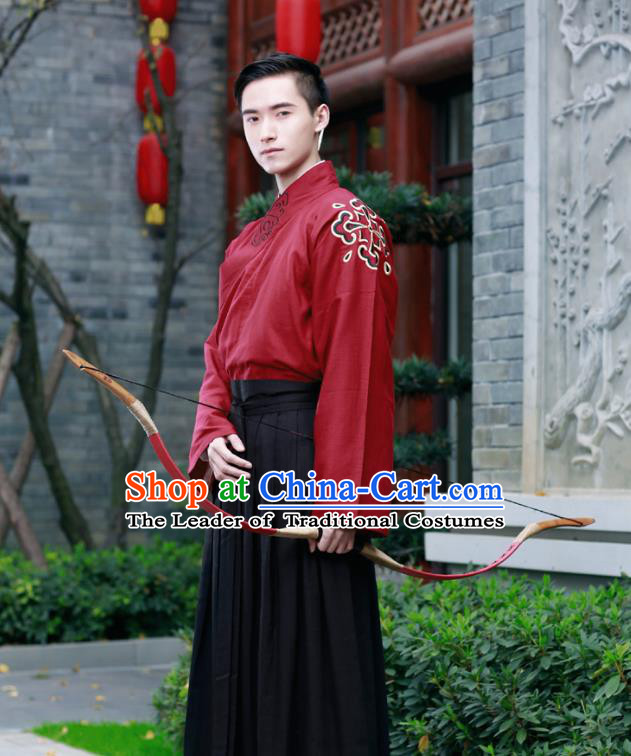 Traditional Chinese Ancient Hanfu Swordsman Costumes, Asian China Han Dynasty Kawaler Embroidery Clothing for Men