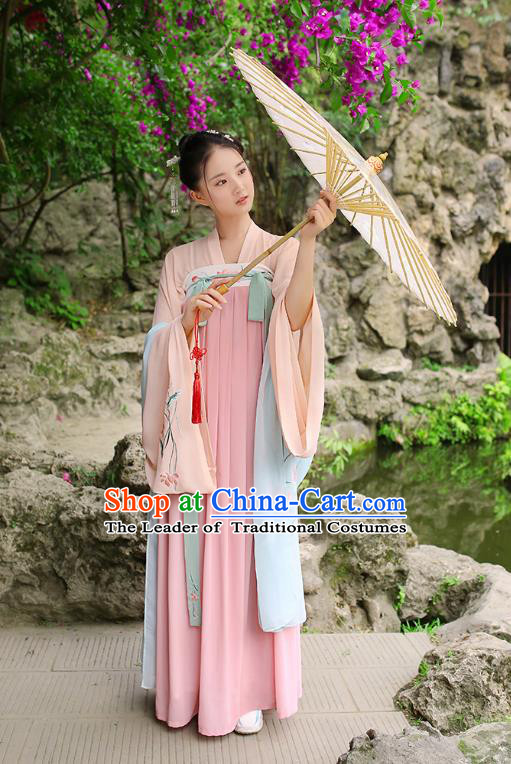 Traditional Chinese Ancient Hanfu Imperial Princess Costume, Asian China Tang Dynasty Palace Lady Embroidery Pink Slip Dress for Women