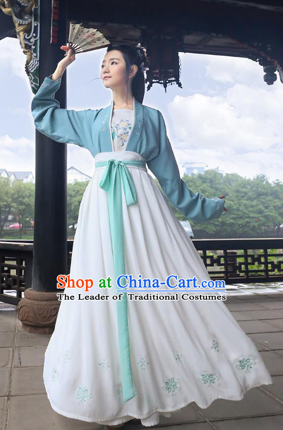 Traditional Chinese Ancient Young Lady Hanfu Costumes, Asian China Song Dynasty Palace Princess Embroidery Blue Blouse and Skirt for Women