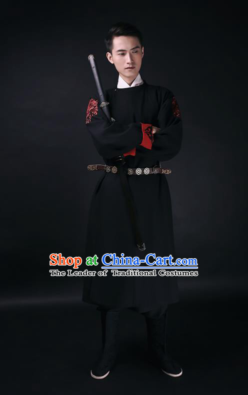 Traditional Chinese Ancient Hanfu Imperial Guards Costume, Asian China Ming Dynasty Swordsman Black Long Robe for Men