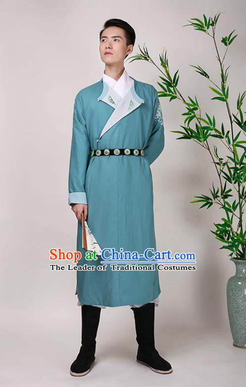 Traditional Chinese Ancient Hanfu Imperial Guards Costume, Asian China Ming Dynasty Swordsman Green Long Robe for Men