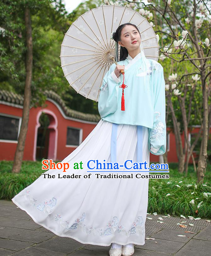 Traditional Chinese Ancient Princess Hanfu Costumes, Asian China Ming Dynasty Palace Lady Embroidery Green Blouse and Skirts for Women