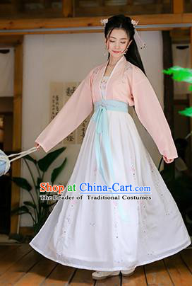 Traditional Chinese Ancient Princess Hanfu Costumes, Asian China Song Dynasty Palace Lady Embroidery Pink Blouse and White Skirts for Women