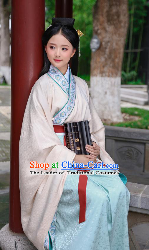 Traditional Chinese Ancient Hanfu Young Lady Costumes, Asian China Han Dynasty Princess Embroidery Pink Dress Clothing for Women