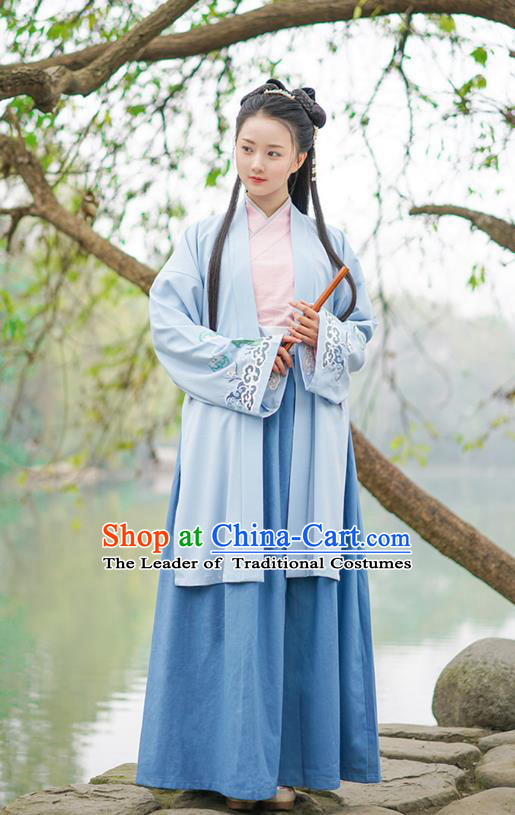 Traditional Chinese Ancient Young Lady Hanfu Costume, Asian China Song Dynasty Princess Embroidered Long BeiZi Blue Cardigan for Women