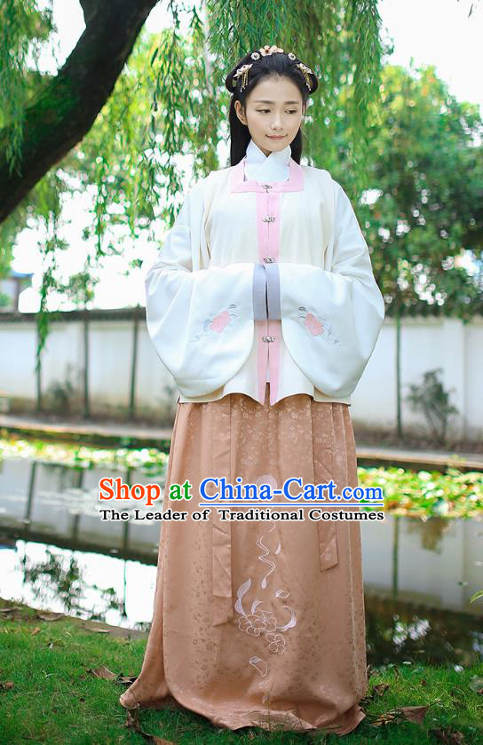 Traditional Chinese Ancient Royal Princess Hanfu Costume, Asian China Ming Dynasty Palace Lady Embroidered White Vest Blouse and Skirts for Women