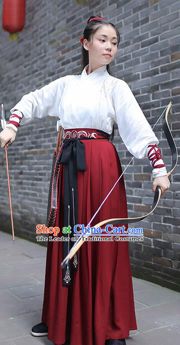 Traditional Chinese Ancient Swordswoman Hanfu Costume, Asian China Han Dynasty Embroidered Blouse and Skirts for Women