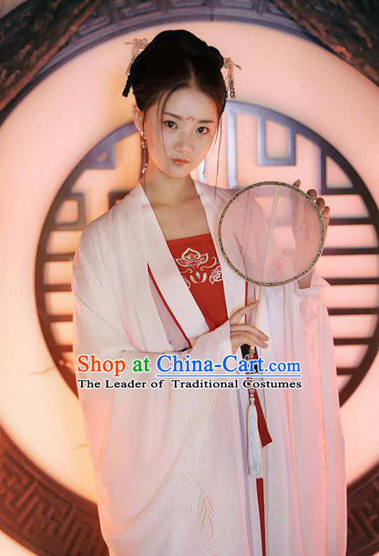 Traditional Chinese Ancient Royal Princess Hanfu Costume, Asian China Tang Dynasty Palace Lady Embroidered Wide Sleeve White Cloak for Women