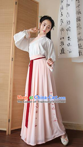 Traditional Chinese Ancient Young Lady Hanfu Costume, Asian China Song Dynasty Princess Embroidered Blouse and Pink Skirts for Women
