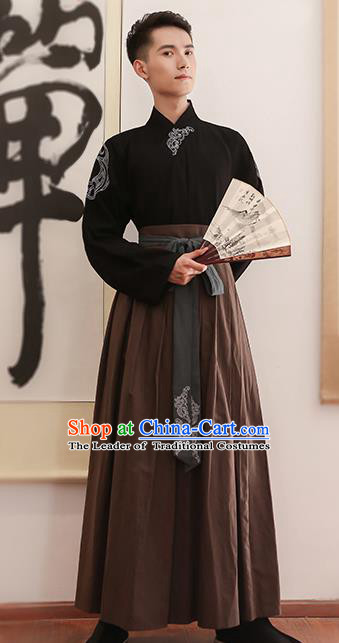Traditional Chinese Ancient Hanfu Swordsman Costume, Asian China Ming Dynasty Imperial Bodyguard Embroidered Black Blouse and Skirt for Men