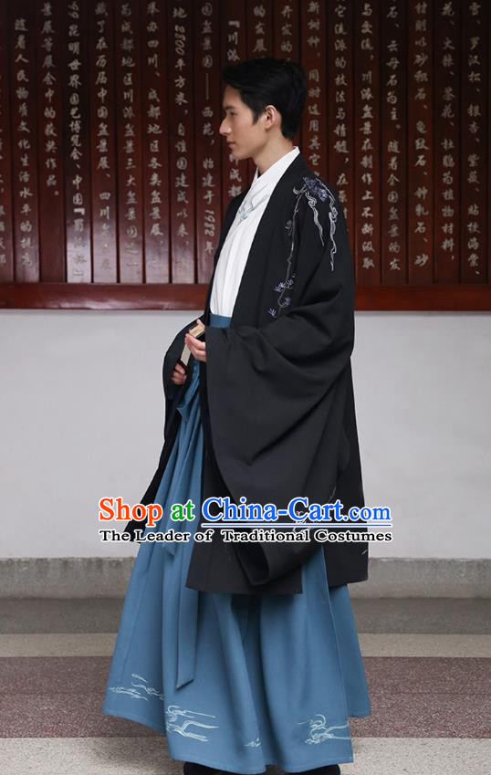 Traditional Chinese Ancient Hanfu Swordsman Costume, Asian China Han Dynasty Imperial Bodyguard Embroidered Black Cloak for Men