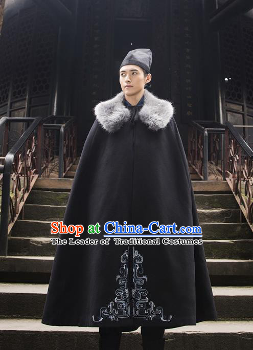 Traditional Chinese Ancient Hanfu Swordsman Costume Hooded Mantle, Asian China Han Dynasty Imperial Bodyguard Embroidered Black Cloak for Men