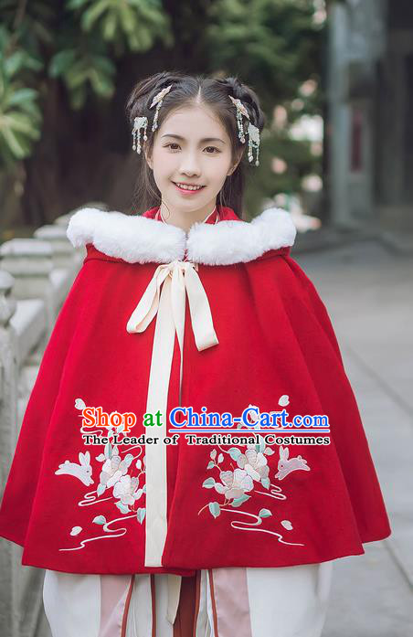 Traditional Chinese Ancient Hanfu Princess Costume Red Cloak, Asian China Han Dynasty Palace Lady Embroidered Mantle for Women