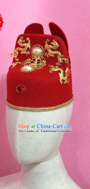 Traditional Handmade Chinese Classical Hair Accessories Bridegroom Hats Ancinet Wedding Lang Scholar Headwear for Men