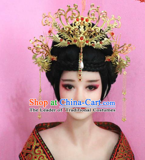 Traditional Handmade Chinese Hair Accessories Palace Lady Empress Phoenix Coronet, Xiuhe Suit Tassel Step Shake Hairpins Complete Set for Women
