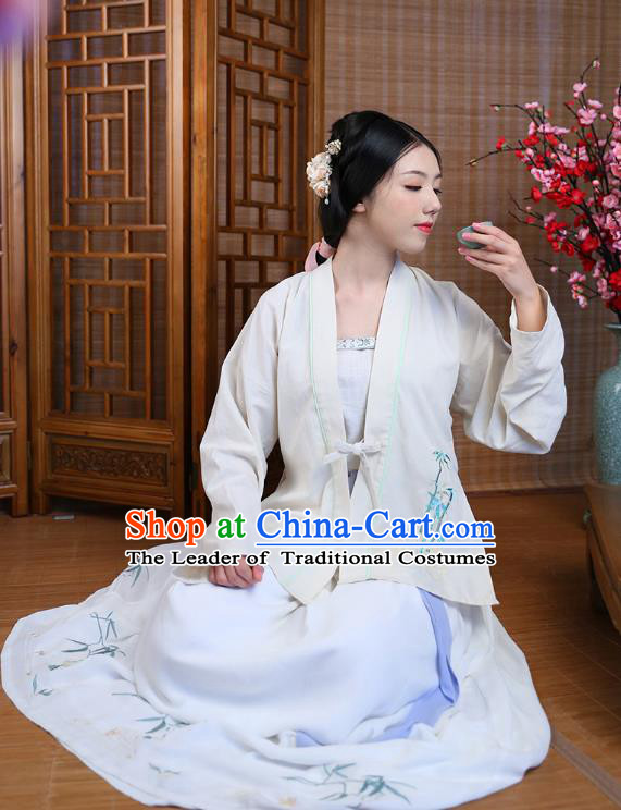 Traditional Chinese Ancient Hanfu Princess Costume, Asian China Song Dynasty Young Lady Embroidered BeiZi Blouse for Women
