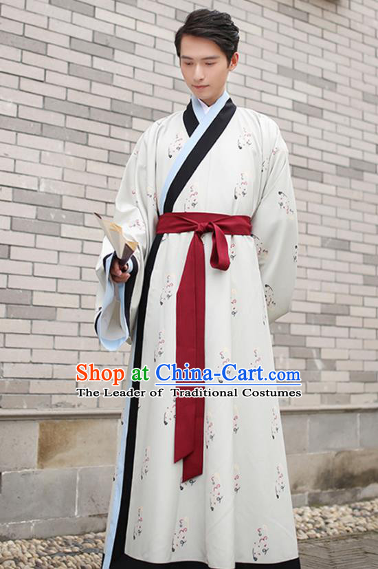 Traditional Chinese Ancient Scholar Costume, Asian China Han Dynasty Swordsman Embroidered Long Robe for Men