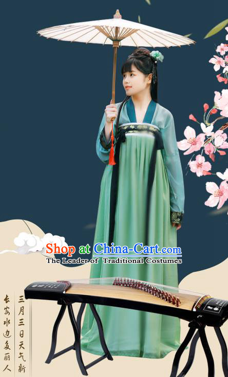Traditional Chinese Ancient Palace Lady Costume, Asian China Tang Dynasty Princess Embroidered Silk Dress Clothing for Women