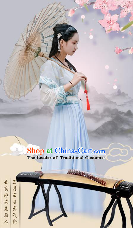 Traditional Chinese Ancient Palace Lady Costume, Asian China Tang Dynasty Princess Embroidered Half-Sleeves Slip Skirt for Women
