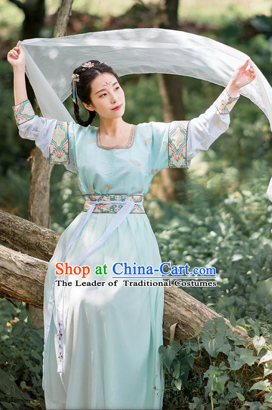 Traditional Chinese Ancient Palace Lady Costume, Asian China Tang Dynasty Princess Embroidered Green Half-Sleeves Slip Skirt for Women