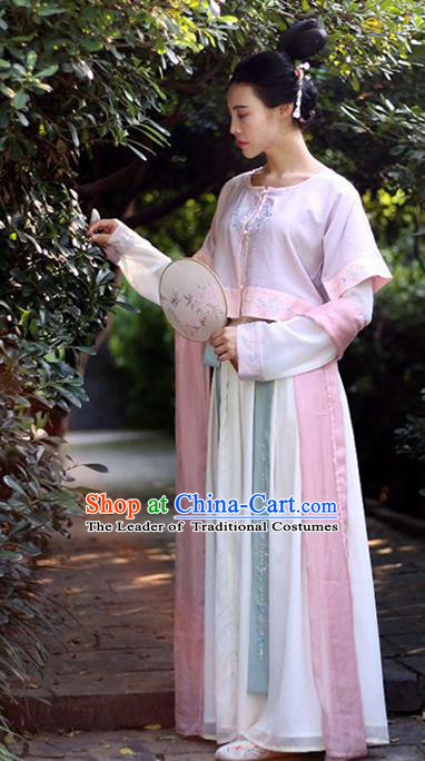 Traditional Chinese Ancient Palace Lady Costume White Cardigan, Asian China Tang Dynasty Imperial Concubine Embroidered Purple Blouse Clothing for Women