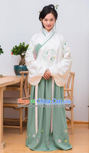 Traditional Chinese Ancient Palace Lady Costume, Asian China Ming Dynasty Imperial Concubine Embroidered White Blouse and Skirt Clothing for Women