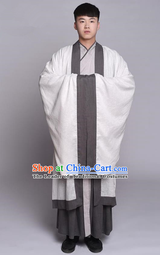 Traditional Chinese Ancient Hanfu Costume Cloak and Long Robe, Asian China Han Dynasty Scholar Clothing for Men