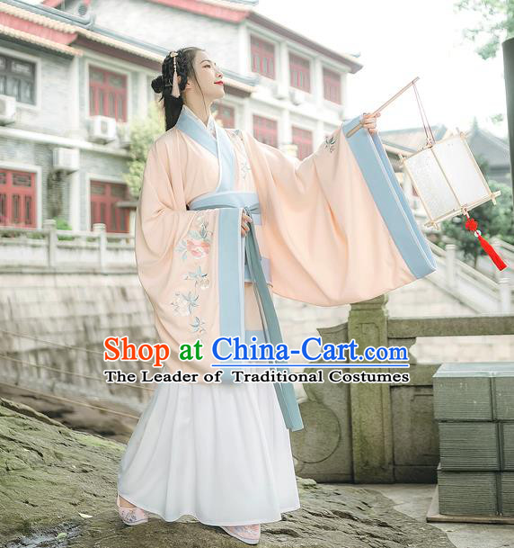 Traditional Chinese Ancient Hanfu Princess Costume Pink Curve Bottom, Asian China Han Dynasty Palace Lady Embroidered Clothing for Women