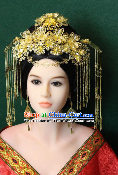Traditional Handmade Chinese Hair Accessories Tang Dynasty Empress Tassel Hairpins, China Palace Phoenix Coronet Step Shake Headwear for Women
