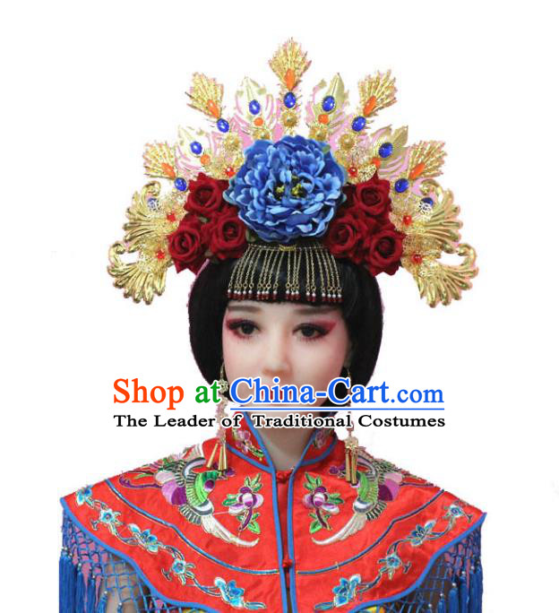 Traditional Handmade Chinese Hair Accessories Tang Dynasty Empress Peony Phoenix Coronet Tassel Step Shake Hairpins for Women