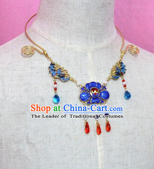 Traditional Handmade Chinese Jewelry Accessories Princess Cloisonne Necklace, China Tang Dynasty Empress Tassel Necklet for Women