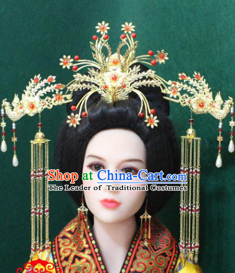 Traditional Handmade Chinese Hair Accessories Phoenix Coronet Complete Set, China Han Dynasty Phoenix Tassel Hairpins for Women