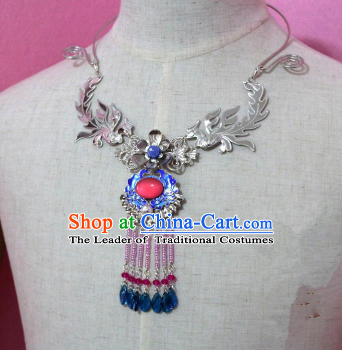 Traditional Handmade Chinese Jewelry Accessories Princess Necklace, China Tang Dynasty Empress Tassel Cloisonne Necklet for Women